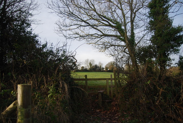 Stile on the footpath to Golsoncott