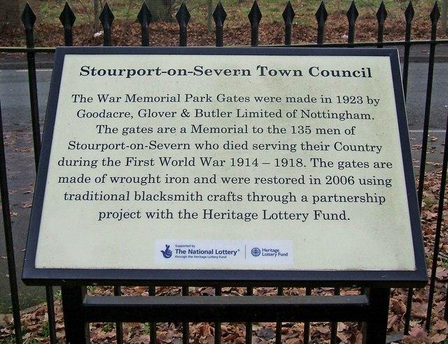 Stourport War Memorial Park - information board relating to gates