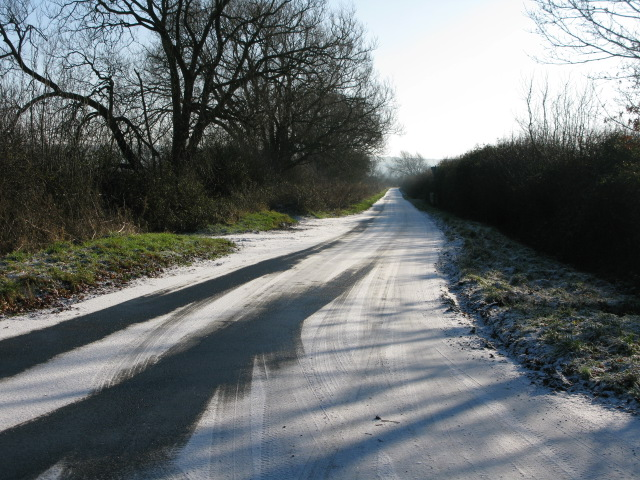 Looking SE along the road to Bishopstone