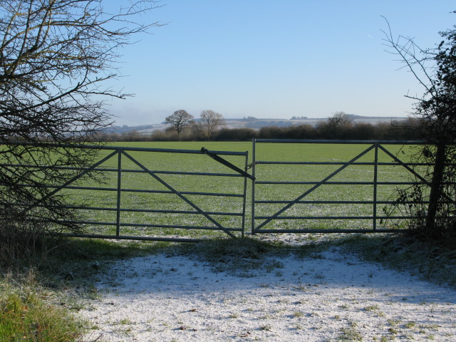 Field entrance from the road to Bishopstone