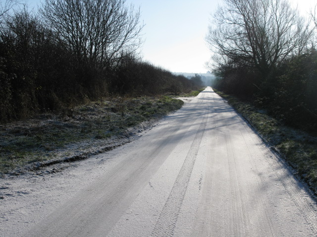Snow covered road to Bishopstone