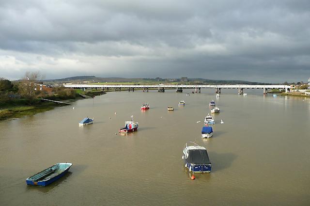 River Adur and railway bridge, near Shoreham, West Sussex