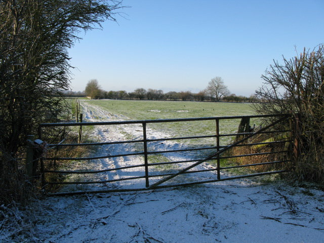 Gated field entrance off the Bishopstone road