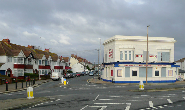 The Half Brick (closed) and Ham Road, Worthing, West Sussex