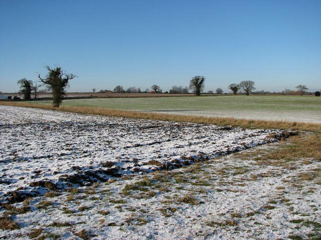 View across frozen fields east of Bungay Road
