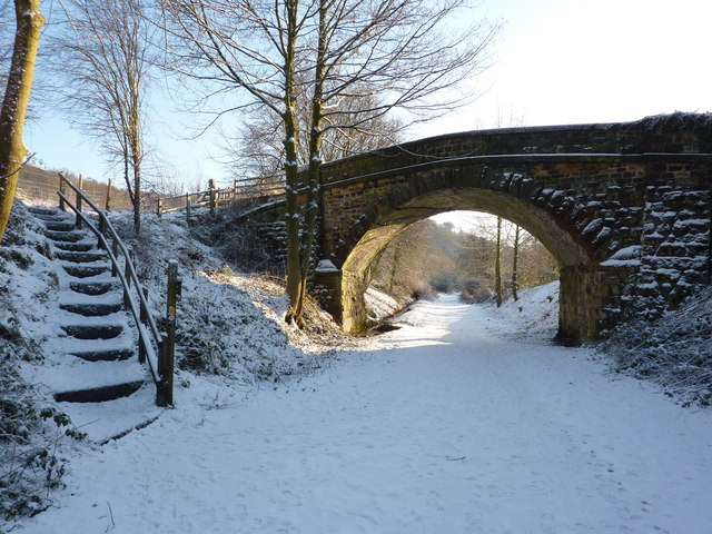 Bridge over Monsal Trail, Bakewell, in the snow
