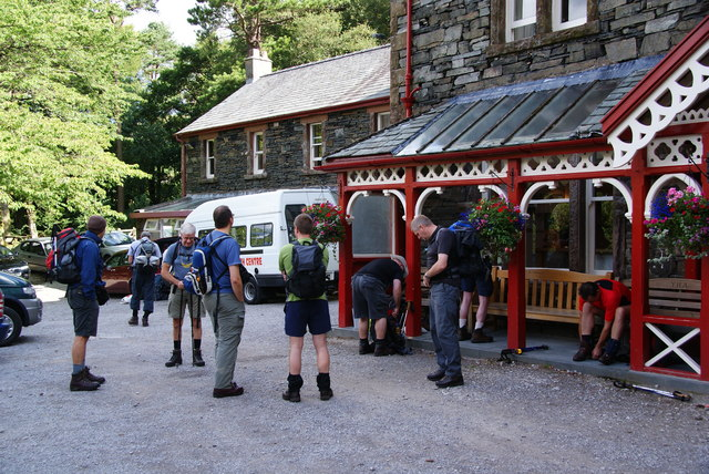 Getting ready for the walk at the YHA