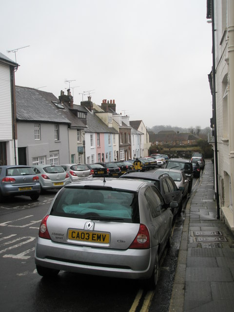 Parked cars in Arun Street