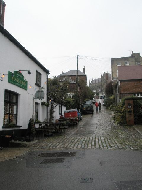 Looking from Tarrant Street up Kings Arms Hill