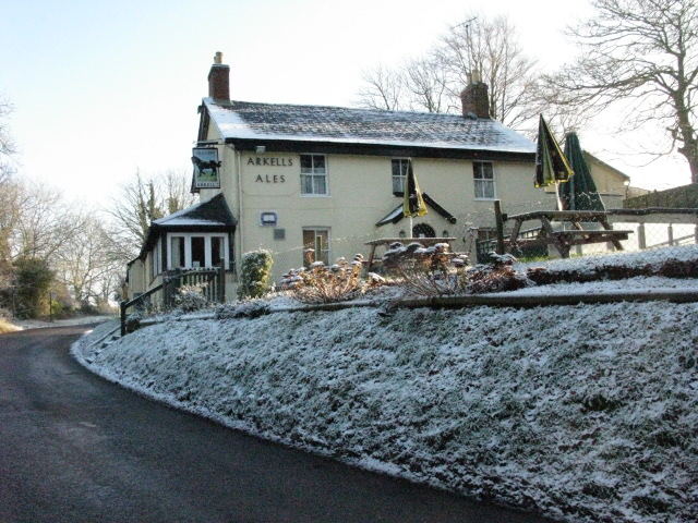 The Black Horse, Wanborough, under a dusting of snow
