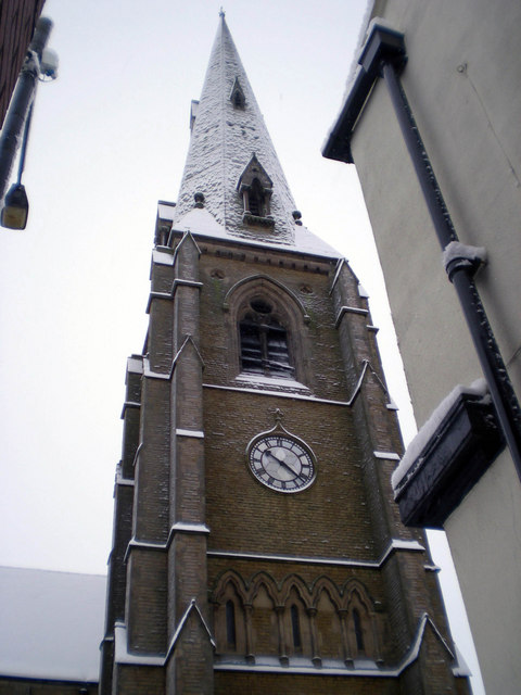 Church spire in the snow