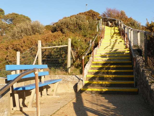 Bournemouth: blue bench and yellow steps