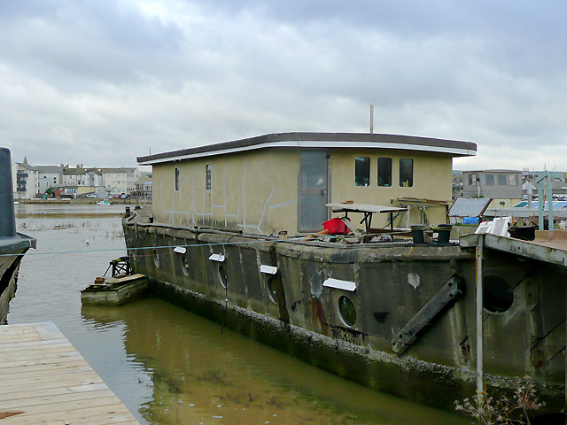 Concrete hulled houseboat, Shoreham Beach, West Sussex