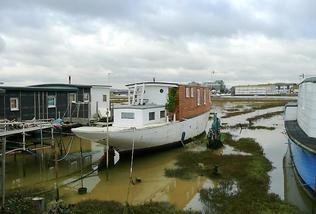 Houseboats at Shoreham Beach, West Sussex