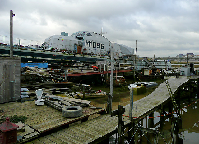 Military houseboat at Shoreham Beach, West Sussex