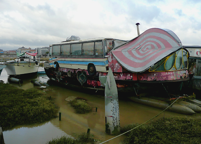 A very distinctive houseboat at Shoreham Beach, West Sussex