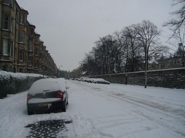 Thirlestane Road in winter
