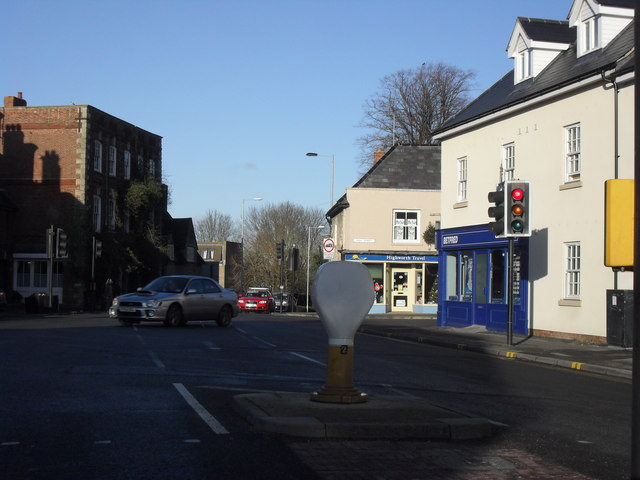 At the traffic lights in the centre of Highworth