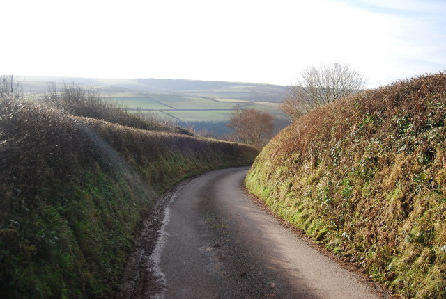 Stouts Way Lane descends into the Washford River Valley