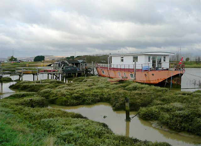 Houseboat near Shoreham Beach, West Sussex