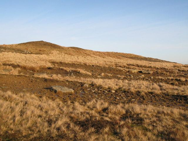 Moorland below the upper Rookhope lead smelting flue chimney