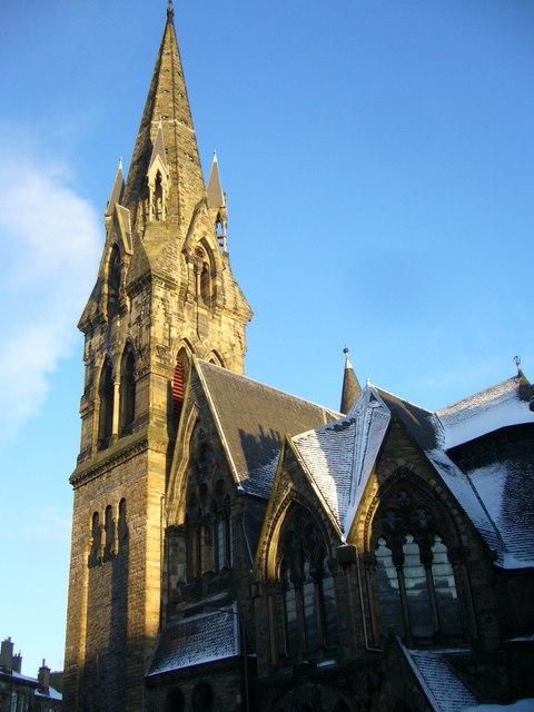 Barclay Church tower in sunlight
