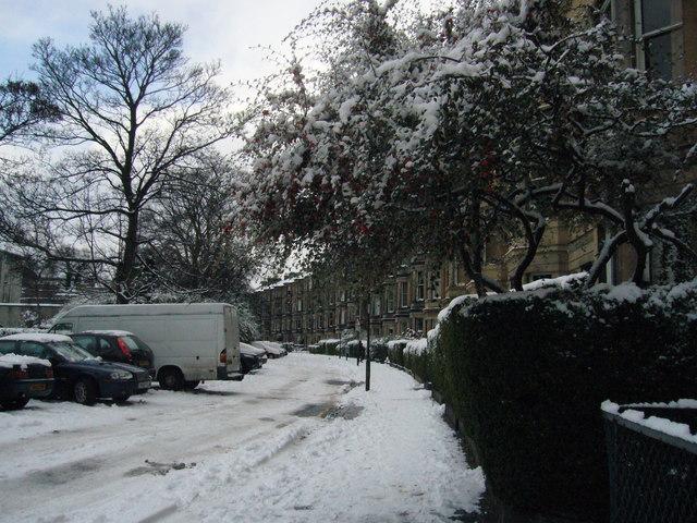 Gillespie Crescent in winter