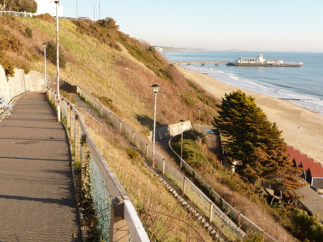 Bournemouth: West Cliff Zig-Zag and pier view