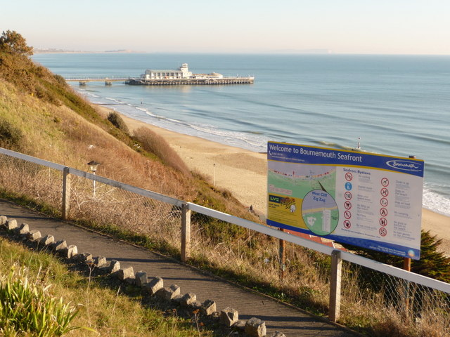 Bournemouth: seafront welcome sign on West Cliff Zig-Zag