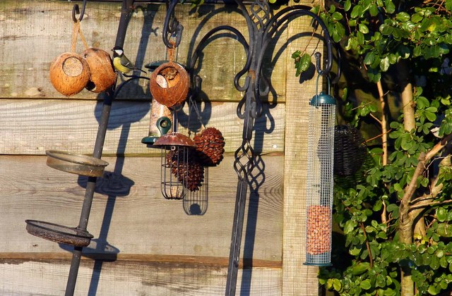 Bird feeders at Fairweather's Garden Centre in Beaulieu