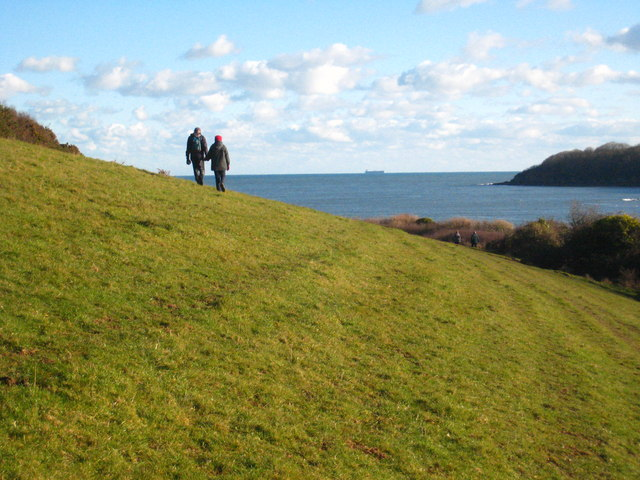 Walkers on the coastal path by the Helford River