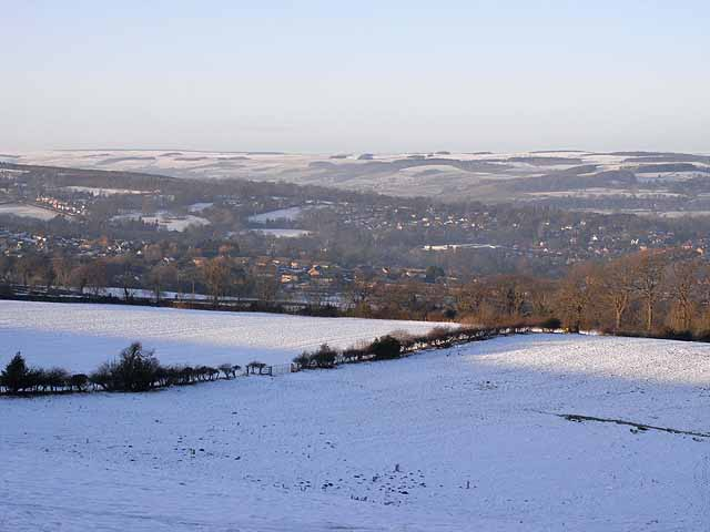 View over Hexham in snow