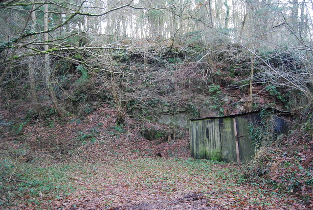 Disused quarry & hut by the road into Luxborough