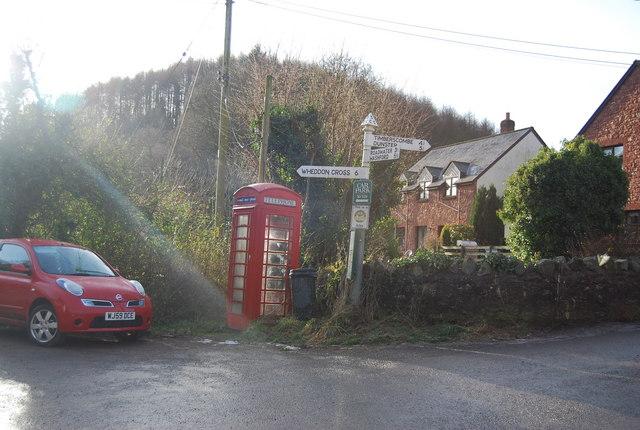 Road Sign & Telephone box, Kingsbridge, Luxborough