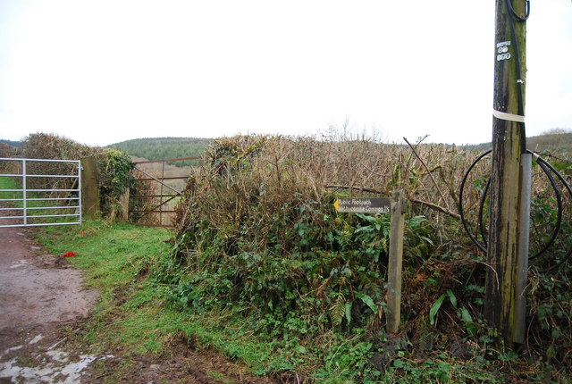 Footpath sign posted off the lane out of Luxborough