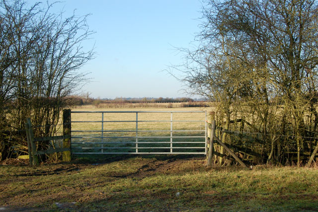 Gate into field north of bridleway to Onley Fields
