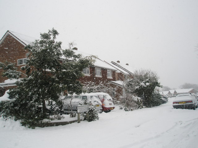 Snow covered homes in Woodstock Road