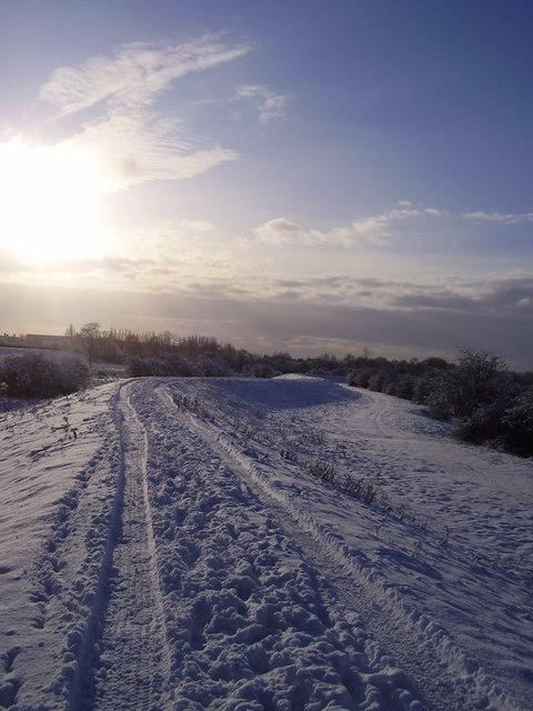 Tracks along the embankment.