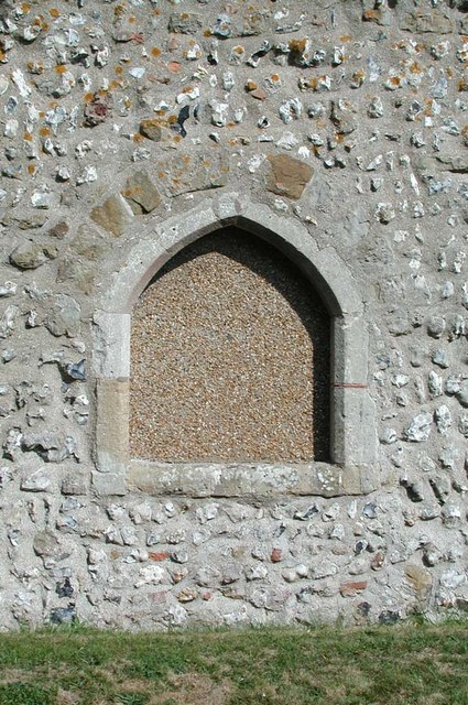 Church of the Transfiguration, Pyecombe, Sussex - Blocked window