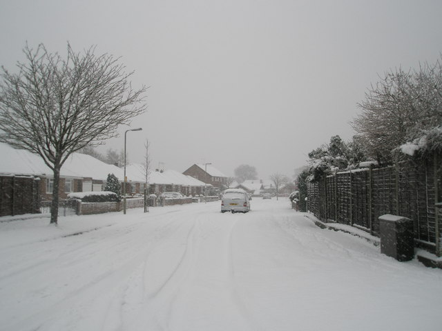 Looking from Hooks Lane into a snowy Talbot Road