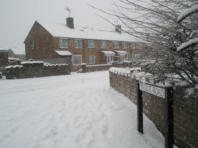 Looking from Talbot Road into a snowy Hooks Lane