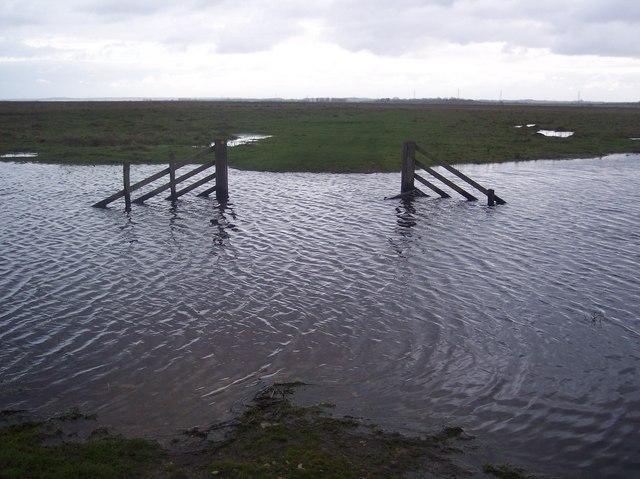 Flooded Dyke and footpath