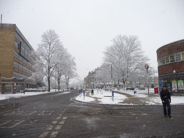 High Street, Southgate in the snow