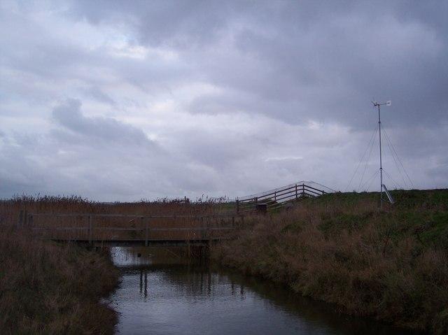 Footbridge on a dyke in Elmley Marshes