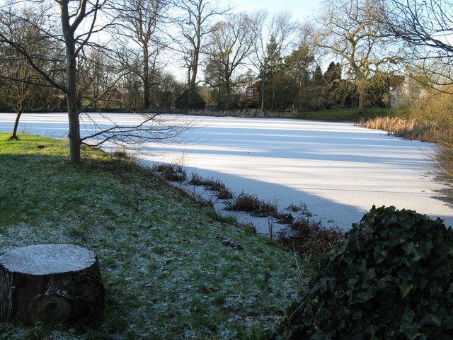 Frozen Millpond near Broadbridge Farm