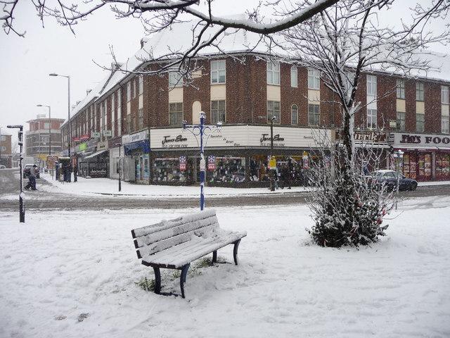Crown Lane, Southgate, London N14 in the snow