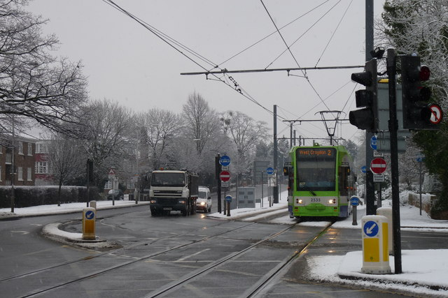 Croydon Trams in the Snow (1)