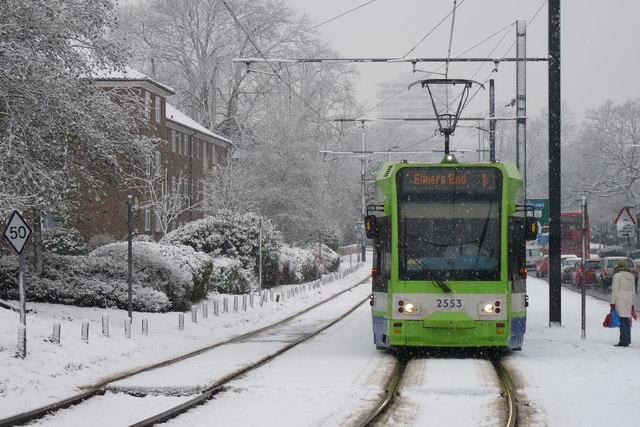 Croydon Trams in the Snow (2)