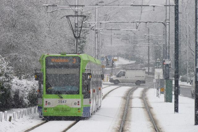 Croydon Trams in the Snow (3)