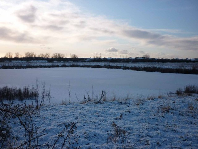 Frozen pond, Aldcliffe Marsh